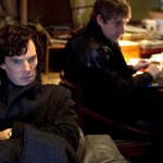 GreatGame-Benedict Cumberbatch and Martin Freeman as Sherlock Holmes and John Watson in 221 B Baker Street in The Great Game